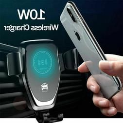 10W QI Wireless Fast Charger Car Mount Holder Stand For iPho