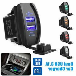 12V Car Charger 3.1A Quick Charge LED Dual USB Port Cigarett