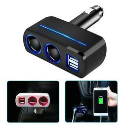 12V Dual USB Charger Car Cigarette Lighter Socket Splitter P