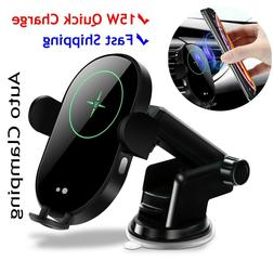 15W Wireless Car Charger, Auto clamping, Dashboard, Air Vent