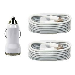 2x 8 Pin USB Data SYNC Cable+Dual USB Car Charger for iPhone