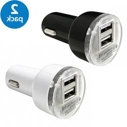 2x Black USB Car Charger Adapter 2.1A For LG HTC Samsung iPh