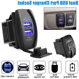 3.1A Dual USB Socket Charger Power Adapter Waterproof LED 12