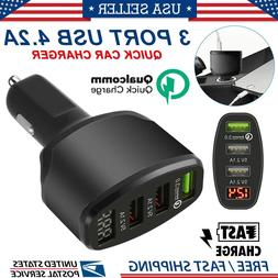 3 Port USB 4.2A Quick Car Charger Adapter LED Display Fast C