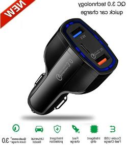 3-Port USB Fast Rapid Car Charger Adapter Type C Port for iP