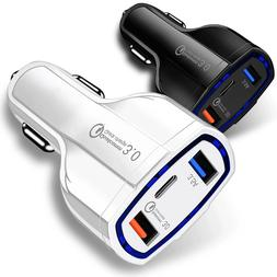 3-Port USB Fast Rapid Car Charger Adapter Type C Port for An