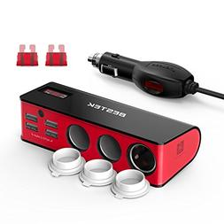 BESTEK 3-Socket 200W 12V/24V DC Cigarette Lighter Power Adap