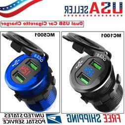 36W Dual USB Quick Car Charger Socket For Car Boat Motorcycl