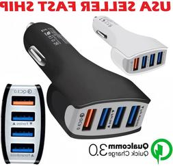 4-Port USB Fast Charging Car Charger Adapter Quick Charger F