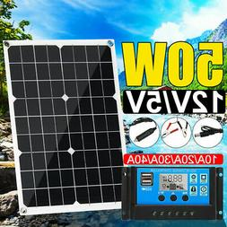 50W 12V Dual USB Solar Panel Battery Charger Car Boat W/ Cab