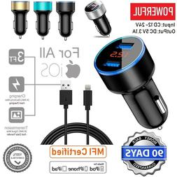 5V 3.1A 2 Port USB Car Charger Dual LCD Display For iPhone 5