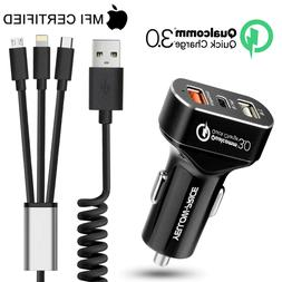 QC Quick 8.4A Car Charger 3-IN-1 Lightning USB Type C Cable