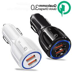 Dual USB 30W Car Charger Adapter 3.0 Fast Charging For iPhon