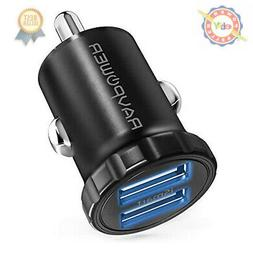 Car Charger RAVPower Mini Dual USB Car Adapter 24W 4.8A Outp