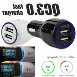 Car Quick Charger Fast QC 3.0 Smartphones Adapter For Samsun