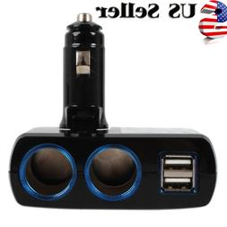 2 Way Charger Adapter Dual Ca rUSB Socket Port Car Cigarette