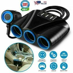 Cigarette Lighter Socket 3 USB Charger Splitter 12V Outlet P