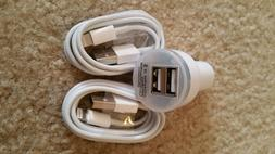 Double USB Car Charger With 2X-8 PIN Sync Cable For iPhone 6