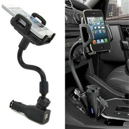 Dual 2 USB Ports Car Cigarette Lighter Charger Mount Holder