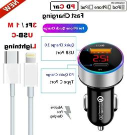 Fast Car Charger iPhone Charger Usb-C 8Pin Cable For iPhone