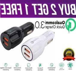 2 Port USB Fast Car Charger 3.0 Dual USB for Cell Phone Sams