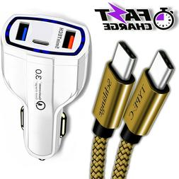 Fast Quick CAR Charger USB With Type C Cable for Android & i