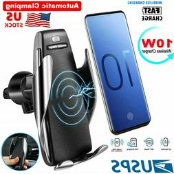 Infared Wireless Auto Clamping Car Fast Charger Phone Holder