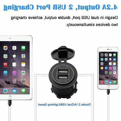 12V Car Socket Dual USB Charger Power Adapter