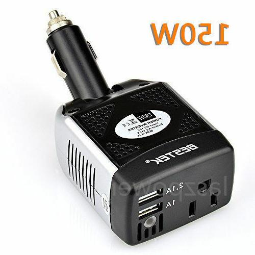 BESTEK 150W Car DC to AC Power Inverter 110V AC Dual Outlets