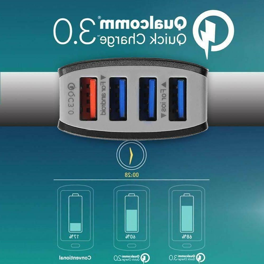 4-Port Car Charging Adapter Quick Charger