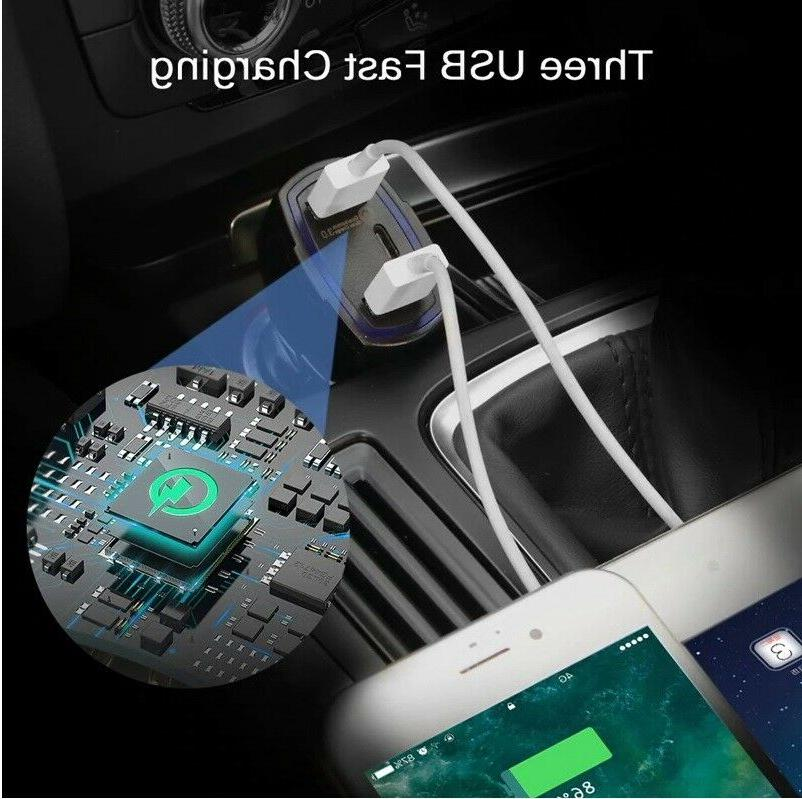 3-Port Car Charger Adapter C Port Android Samsung