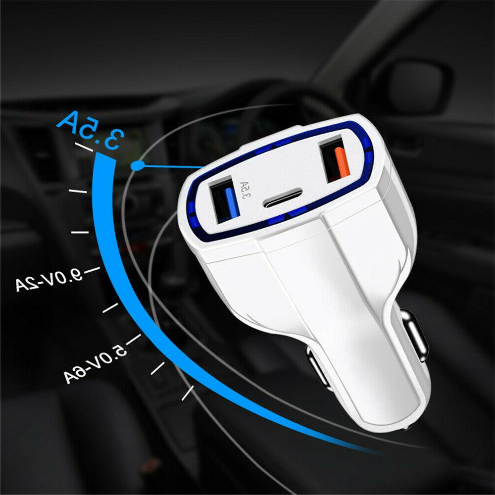 3-Port USB Fast Car Charger C for Samsung Galaxy
