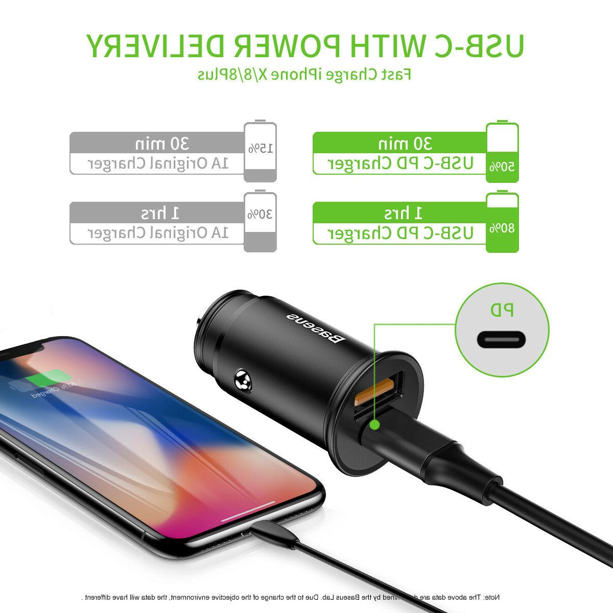 30W Charging Car Charger Quick 4.0 + USB-A QC