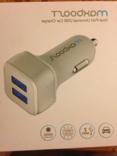 Maxboost 4.8A/24W 2 USB Smart Dual USB Port Car Charger Whit