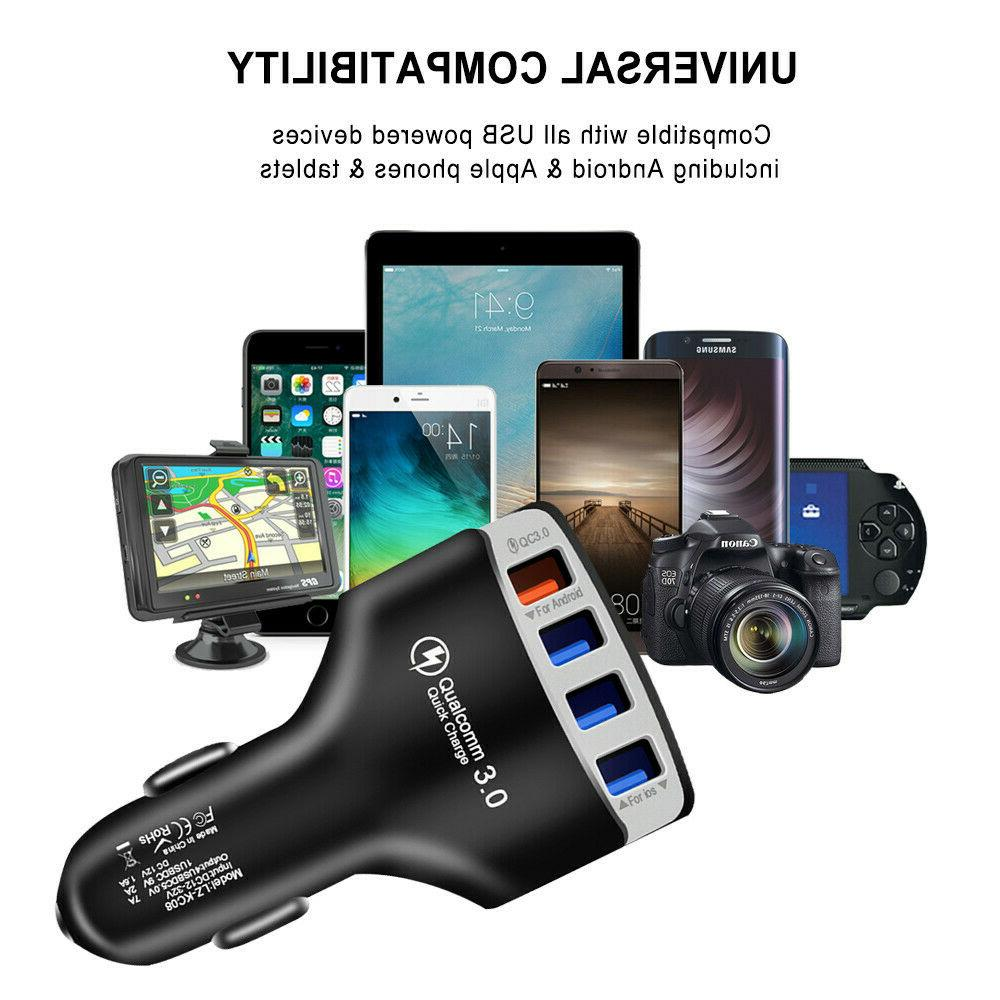4-Port USB Fast Charging Car Charger Adapter Charger For iPhone