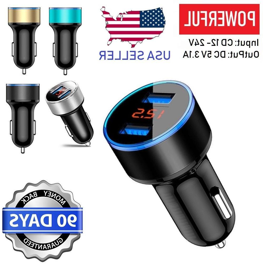5V 3.1A 2 USB Car Charger LCD Display iPhone, Samsung, LG,