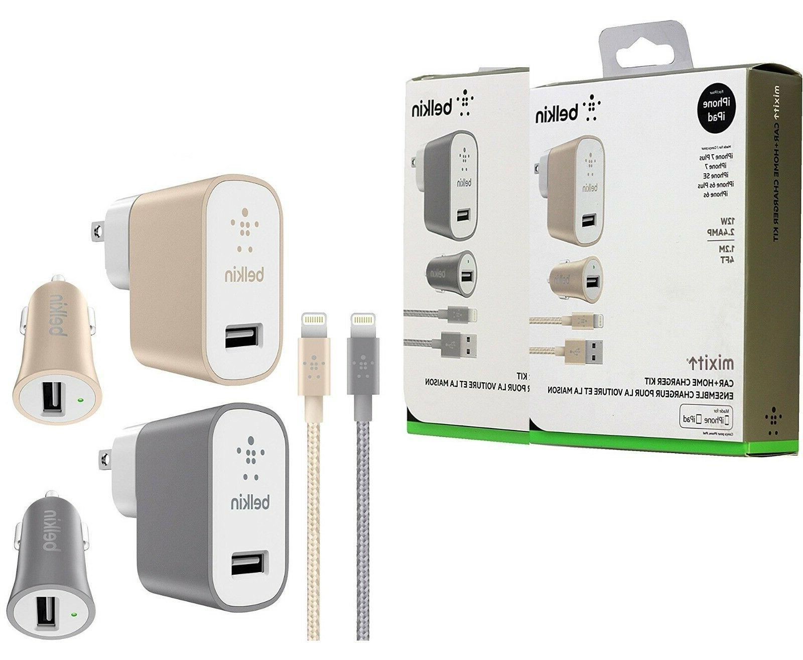 Belkin MIXIT Car/Home Fast 12w Charger Kit Lightning Cable f