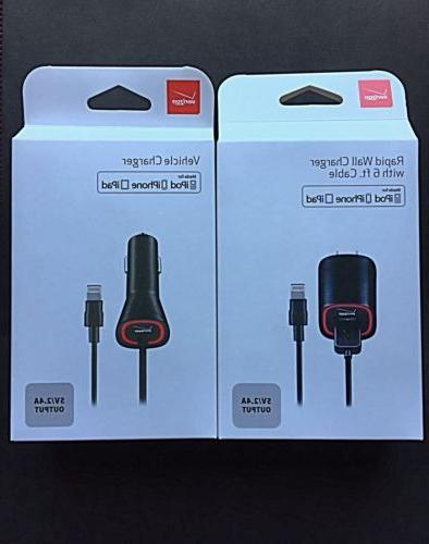 Verizon OEM Home,Car Charger Lightning USB Cable For iPhone
