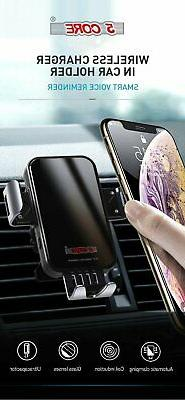 5 Core Wireless Car Charger 15W QI Auto Clamping Air Vent Da
