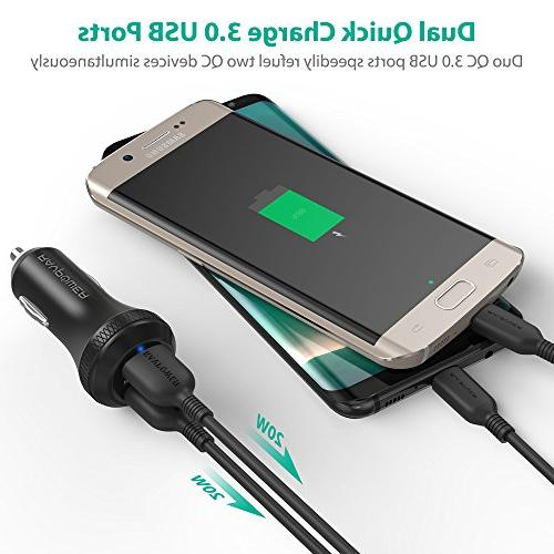 Quick Charge 3.0 Car Charger RAVPower Car Adapter QC USB Ports Galaxy Note8 S7, iPhone Xs 8 7 iPad, and