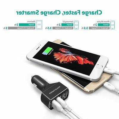 Car Charger 4-Port USB Car Charger with Charge 4X Faster
