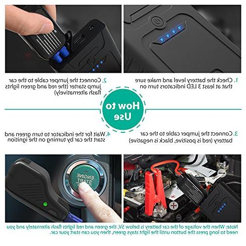 RAVPower Car Starter 10000mAh Portable Car Battery Charger with for up 3L Gasoline Engines, Car and Bank