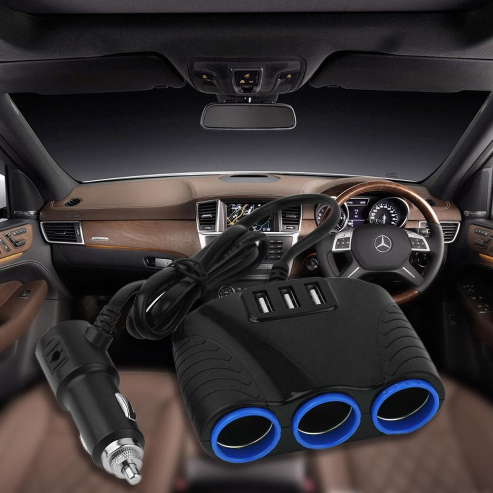 3 way Cigarette Socket Splitter USB Car