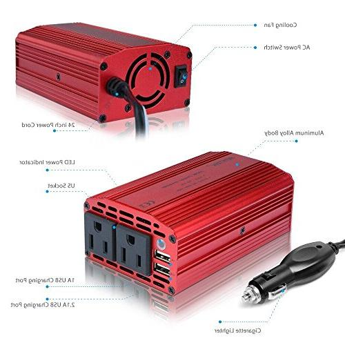 BESTEK Dual Outlets 300W with batera