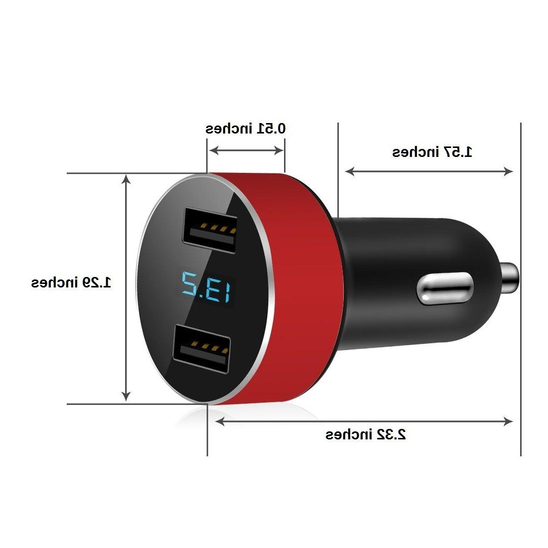 Dual Car Charger Adapter LED Fast Charging iPhone Samsung