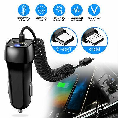 fast rapid car charger type c micro
