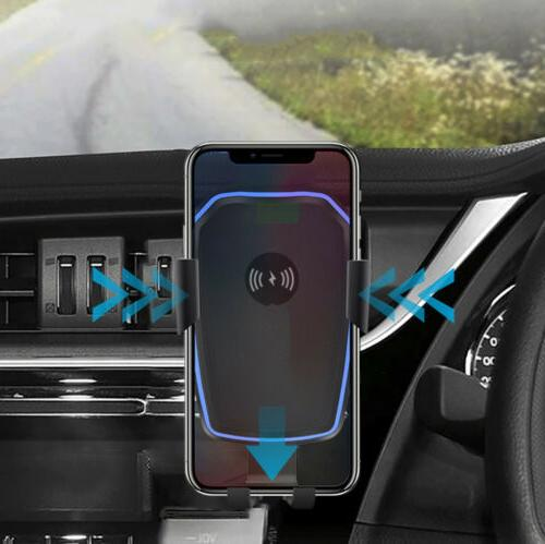 Qi Wireless Car Charger Mount Holder Stand 2 in 1 For Cell Phone