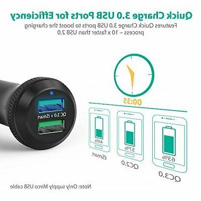 Quick Charge Charger RAVPower 40W 3A Car Adapter with QC USB