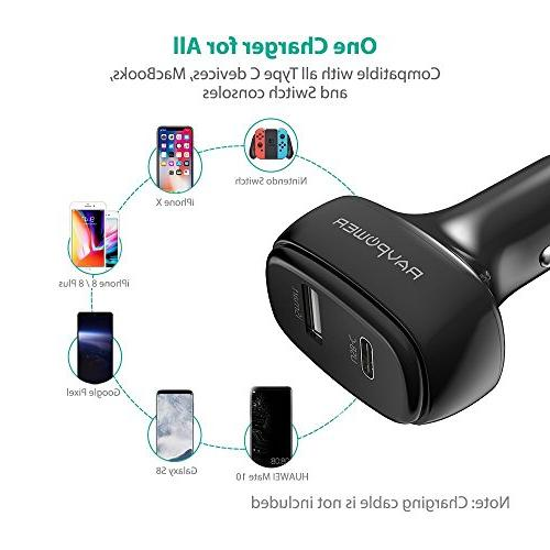 RAVPower USB C Car Charger, C Power Delivery Adapter MacBook, Pixel, iPhone X 8 8 iSmart 2.0 S8, Note, iPad Pro Air More