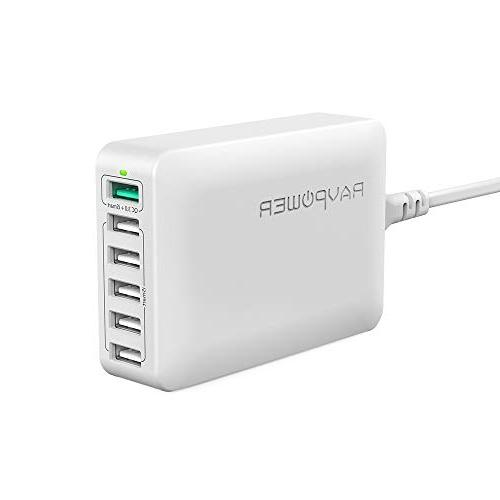 USB Quick Charger RAVPower 60W 6-Port Fast Charger Desktop C